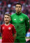 7 June 2019; Seamus Coleman of Republic of Ireland with Tiernan O'Kelly, from Dundrum, prior to the UEFA EURO2020 Qualifier Group D match between Denmark and Republic of Ireland at Telia Parken in Copenhagen, Denmark. Photo by Stephen McCarthy/Sportsfile