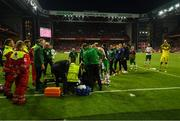 7 June 2019; Alan Judge of Republic of Ireland receives medical treatment following the UEFA EURO2020 Qualifier Group D match between Denmark and Republic of Ireland at Telia Parken in Copenhagen, Denmark. Photo by Stephen McCarthy/Sportsfile
