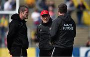 8 June 2019; Tyrone manager Mickey Harte, centre, with selectors Stephen O'Neill, left, and Gavin Devlin ahead of the Ulster GAA Football Senior Championship semi-final match between Donegal and Tyrone at Kingspan Breffni Park in Cavan. Photo by Daire Brennan/Sportsfile