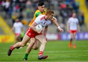 8 June 2019; Peter Harte of Tyrone in action against Michael Langan of Donegal during the Ulster GAA Football Senior Championship semi-final match between Donegal and Tyrone at Kingspan Breffni Park in Cavan. Photo by Ramsey Cardy/Sportsfile