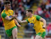 8 June 2019; Jamie Brennan of Donegal, right, celebrates with team-mate Patrick McBrearty after scoring his side's first goal during the Ulster GAA Football Senior Championship semi-final match between Donegal and Tyrone at Kingspan Breffni Park in Cavan. Photo by Daire Brennan/Sportsfile