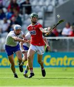 8 June 2019; Paul O'Riordan of Cork gets away from Rory Furlong, left, and Caoimhín Walsh of Waterford during the Electric Ireland Munster Minor Hurling Championship match between Cork and Waterford at Páirc Uí Chaoimh in Cork. Photo by Piaras Ó Mídheach/Sportsfile