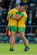 8 June 2019; Michael Murphy, left, and Frank McGlynn of Donegal celebrate after the Ulster GAA Football Senior Championship semi-final match between Donegal and Tyrone at Kingspan Breffni Park in Cavan. Photo by Daire Brennan/Sportsfile