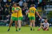 8 June 2019; Eoghan Bán Gallagher, left, and Frank McGlynn of Donegal celebrate after the Ulster GAA Football Senior Championship semi-final match between Donegal and Tyrone at Kingspan Breffni Park in Cavan. Photo by Daire Brennan/Sportsfile