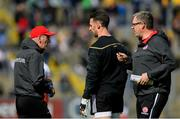 8 June 2019; Tyrone manager Mickey Harte, left, in conversation with Niall Morgan ahead of the Ulster GAA Football Senior Championship semi-final match between Donegal and Tyrone at Kingspan Breffni Park in Cavan. Photo by Ramsey Cardy/Sportsfile