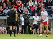 8 June 2019; Tyrone manager Mickey Harte argues with referee  David Gough during the Ulster GAA Football Senior Championship semi-final match between Donegal and Tyrone at Kingspan Breffni Park in Cavan. Photo by Daire Brennan/Sportsfile