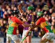 8 June 2019; Conor McDonald of Wexford in action against Richard Coady and David English of Carlow during the Leinster GAA Hurling Senior Championship Round 4 match between Wexford and Carlow at Innovate Wexford Park in Wexford. Photo by Matt Browne/Sportsfile