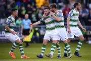 8 June 2019; Jack Byrne, second from left, of Shamrock Rovers celebrates after scoring his side's second goal with team-mates, from left, Aaron Greene, Greg Bolger and Joey O'Brien during the SSE Airtricity League Premier Division match between Shamrock Rovers and Derry City at Tallaght Stadium in Dublin. Photo by Stephen McCarthy/Sportsfile