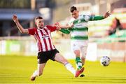 8 June 2019; Trevor Clarke of Shamrock Rovers in action against Jamie McDonagh of Derry City during the SSE Airtricity League Premier Division match between Shamrock Rovers and Derry City at Tallaght Stadium in Dublin. Photo by Stephen McCarthy/Sportsfile