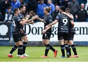 8 June 2019; John Mountney of Dundalk,centre, celebrates with Dane Massey, Brian Gartland, Patrick Hoban and  Michael Duffy after scoring his sides second goal during the SSE Airtricity League Premier Division match between Finn Harps and Dundalk at Finn Park in Ballybofey, Donegal. Photo by Oliver McVeigh/Sportsfile