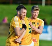 8 June 2019; Kevin Quinn, left, Stephen Beatty, and Fintan Burke, right, of Antrim celebrate after the GAA Football All-Ireland Senior Championship Round 1 match between Louth and Antrim at Gaelic Grounds in Drogheda, Louth. Photo by Ray McManus/Sportsfile