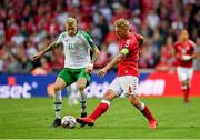 7 June 2019; Simon Kjær of Denmark in action against James McClean of Republic of Ireland during the UEFA EURO2020 Qualifier Group D match between Denmark and Republic of Ireland at Telia Parken in Copenhagen, Denmark. Photo by Seb Daly/Sportsfile