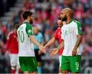 7 June 2019; David McGoldrick, left, and Robbie Brady of Republic of Ireland during the UEFA EURO2020 Qualifier Group D match between Denmark and Republic of Ireland at Telia Parken in Copenhagen, Denmark. Photo by Seb Daly/Sportsfile