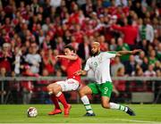 7 June 2019; Thomas Delaney of Denmark in action against David McGoldrick of Republic of Ireland during the UEFA EURO2020 Qualifier Group D match between Denmark and Republic of Ireland at Telia Parken in Copenhagen, Denmark. Photo by Seb Daly/Sportsfile