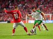 7 June 2019; Enda Stevens of Republic of Ireland in action against Lasse Schöne of Denmark during the UEFA EURO2020 Qualifier Group D match between Denmark and Republic of Ireland at Telia Parken in Copenhagen, Denmark. Photo by Seb Daly/Sportsfile
