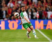 7 June 2019; Enda Stevens of Republic of Ireland during the UEFA EURO2020 Qualifier Group D match between Denmark and Republic of Ireland at Telia Parken in Copenhagen, Denmark. Photo by Seb Daly/Sportsfile