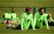 9 June 2019; Republic of Ireland players Jeff Hendrick and Shane Duffy during a training session at the FAI National Training Centre in Abbotstown, Dublin. Photo by Stephen McCarthy/Sportsfile