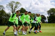 9 June 2019; Republic of Ireland players, from left, Ronan Curtis, Richard Keogh, Callum O'Dowda, fitness coach Andy Liddle, Jeff Hendrick and Shane Duffy during a Republic of Ireland training session at the FAI National Training Centre in Abbotstown, Dublin. Photo by Stephen McCarthy/Sportsfile