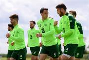 9 June 2019; Seamus Coleman, centre, and Matt Doherty during a Republic of Ireland training session at the FAI National Training Centre in Abbotstown, Dublin. Photo by Stephen McCarthy/Sportsfile