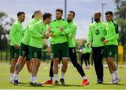 9 June 2019; Republic of Ireland players, from left, Enda Stevens, James McClean, Seamus Coleman, Matt Doherty, Shane Duffy, David McGoldrick and John Egan during a training session at the FAI National Training Centre in Abbotstown, Dublin. Photo by Stephen McCarthy/Sportsfile