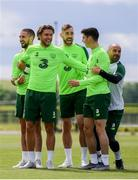 9 June 2019; Republic of Ireland players, from left, Conor Hourihane, Jeff Hendrick, Richard Keogh, Callum O'Dowda and fitness coach Andy Liddle during a training session at the FAI National Training Centre in Abbotstown, Dublin. Photo by Stephen McCarthy/Sportsfile