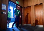 9 June 2019; Republic of Ireland manager Mick McCarthy and Seamus Coleman arrive for a press conference at the FAI National Training Centre in Abbotstown, Dublin. Photo by Stephen McCarthy/Sportsfile