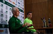9 June 2019; Republic of Ireland manager Mick McCarthy and captain Seamus Coleman during a press conference at the FAI National Training Centre in Abbotstown, Dublin. Photo by Stephen McCarthy/Sportsfile