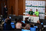 9 June 2019; Republic of Ireland captain Seamus Coleman and manager Mick McCarthy during a press conference at the FAI National Training Centre in Abbotstown, Dublin. Photo by Stephen McCarthy/Sportsfile