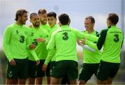 9 June 2019; Republic of Ireland players, from left, Jeff Hendrick, Conor Hourihane, Richard Keogh, Callum O'Dowda, Robbie Brady, Glenn Whelan and Ronan Curtis during a training session at the FAI National Training Centre in Abbotstown, Dublin. Photo by Stephen McCarthy/Sportsfile