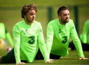 9 June 2019; Republic of Ireland players Jeff Hendrick and Shane Duffy, right, during a training session at the FAI National Training Centre in Abbotstown, Dublin. Photo by Stephen McCarthy/Sportsfile
