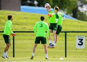 9 June 2019; Ronan Curtis and Glenn Whelan, right, during a Republic of Ireland training session at the FAI National Training Centre in Abbotstown, Dublin. Photo by Stephen McCarthy/Sportsfile