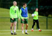 9 June 2019; James McClean, left, and Seamus Coleman during a Republic of Ireland training session at the FAI National Training Centre in Abbotstown, Dublin. Photo by Stephen McCarthy/Sportsfile