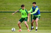 9 June 2019; Sean Maguire and Greg Cunningham during a Republic of Ireland training session at the FAI National Training Centre in Abbotstown, Dublin. Photo by Stephen McCarthy/Sportsfile