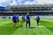 9 June 2019; Laois players including Donie Kingston, centre, walk the pitch before the Leinster GAA Football Senior Championship Semi-Final match between Meath and Laois at Croke Park in Dublin. Photo by Piaras Ó Mídheach/Sportsfile