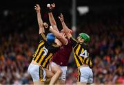 9 June 2019; Jonathan Glynn of Galway appears to win possession ahead of Kilkenny backs, Huw Lawlor, 3, and Tommy Walsh, during the Leinster GAA Hurling Senior Championship Round 4 match between Kilkenny and Galway at Nowlan Park in Kilkenny. Photo by Ray McManus/Sportsfile
