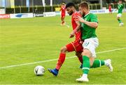 9 June 2019; Josh Barrett of Republic of Ireland in action against Ahmed Bughammar of Bahrain during the 2019 Maurice Revello Toulon Tournament match between Bahrain and Republic of Ireland at Stade Jules Ladoumègue in Vitrolles, France. Photo by Alexandre Dimou/Sportsfile