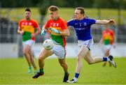 9 June 2019; Darragh O'Brien of Carlow is tackled by Patrick Fox of Longford during the GAA Football All-Ireland Senior Championship Round 1 match between Carlow and Longford at Netwatch Cullen Park in Carlow. Photo by Ramsey Cardy/Sportsfile