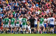 9 June 2019; Both teams tussle after the GAA Football All-Ireland Senior Championship Round 1 match between Monaghan and Fermanagh at St Tiarnach's Park in Clones, Monaghan. Photo by Oliver McVeigh/Sportsfile