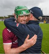 9 June 2019; Galway manager Mícheál Donoghue celebrates with captain David Burke after the Leinster GAA Hurling Senior Championship Round 4 match between Kilkenny and Galway at Nowlan Park in Kilkenny. Photo by Daire Brennan/Sportsfile