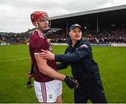 9 June 2019; Galway manager Mícheál Donoghue celebrates with Jonathan Glynn after the Leinster GAA Hurling Senior Championship Round 4 match between Kilkenny and Galway at Nowlan Park in Kilkenny. Photo by Daire Brennan/Sportsfile