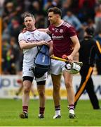9 June 2019; Galway goalkeeper Colm Callanan and Jason Flynn celebrate after the Leinster GAA Hurling Senior Championship Round 4 match between Kilkenny and Galway at Nowlan Park in Kilkenny. Photo by Ray McManus/Sportsfile