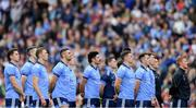 9 June 2019; Dublin captain Stephen Cluxton, centre, stands with his team-mates for Amhrán na bhFiann before making his 100th senior championship appearance for Dublin in the Leinster GAA Football Senior Championship Semi-Final match between Dublin and Kildare at Croke Park in Dublin. Photo by Piaras Ó Mídheach/Sportsfile
