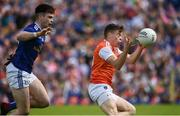 9 June 2019; Aidan Nugent of Armagh in action against Thomas Galligan of Cavan during the Ulster GAA Football Senior Championship Semi-Final Replay match between Cavan and Armagh at St Tiarnach's Park in Clones, Monaghan. Photo by Oliver McVeigh/Sportsfile