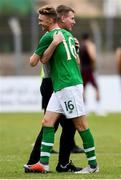 9 June 2019; Stephen Kenny head coach of Republic of Ireland, celebrates the victory with Jack Taylor of Republic of Ireland during the 2019 Maurice Revello Toulon Tournament match between Bahrain and Republic of Ireland at Stade Jules Ladoumègue in Vitrolles, France. Photo by Alexandre Dimou/Sportsfile