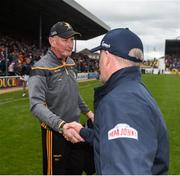 9 June 2019; Kilkenny manager Brian Cody shakes hands with Galway manager Mícheál Donoghue after the Leinster GAA Hurling Senior Championship Round 4 match between Kilkenny and Galway at Nowlan Park in Kilkenny. Photo by Daire Brennan/Sportsfile