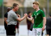 9 June 2019; Republic of Ireland manager Stephen Kenny, left, and Liam Scales of Republic of Ireland celebrates the victory during the 2019 Maurice Revello Toulon Tournament match between Bahrain and Republic of Ireland at Stade Jules Ladoumègue in Vitrolles, France. Photo by Alexandre Dimou/Sportsfile