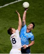 9 June 2019; Michael Darragh MacAuley of Dublin in action against Kevin Feely of Kildare during the Leinster GAA Football Senior Championship semi-final match between Dublin and Kildare at Croke Park in Dublin. Photo by Stephen McCarthy/Sportsfile