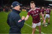 9 June 2019; Galway manager Mícheál Donoghue celebrates with Brian Concannon after the Leinster GAA Hurling Senior Championship Round 4 match between Kilkenny and Galway at Nowlan Park in Kilkenny. Photo by Daire Brennan/Sportsfile
