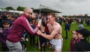 9 June 2019; Conor Whelan of Galway celebrates with supporters after the Leinster GAA Hurling Senior Championship Round 4 match between Kilkenny and Galway at Nowlan Park in Kilkenny. Photo by Daire Brennan/Sportsfile