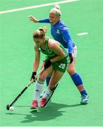 9 June 2019; Chloe Watkins of Ireland in action against Tereza Mejzlikova of Czech Republic during the FIH World Hockey Series Group A match between Ireland and Czech Republic at Banbridge Hockey Club in Banbridge, Down. Photo by Eóin Noonan/Sportsfile